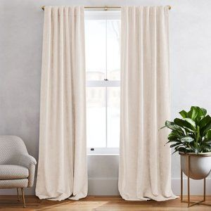 West Elm Ivory Cotton Velvet Curtains Panels